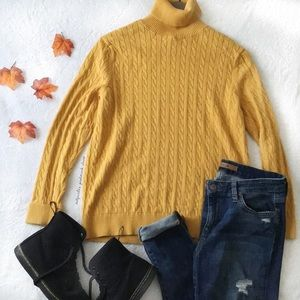 Land's End Golden Yellow Cable Knit Sweater
